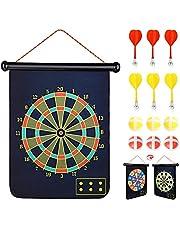 Abree Magnetic Dart Board Toy Tablero de Dardos Enrollable de 2 Lados para niños y Adultos Juegos de Dardos para Colgar al Aire Libre en Interiores con 6 Dardos magnéticos y 6 Bolas de Dardos