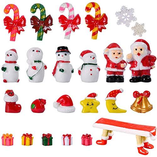 Fovor 2020 Christmas Decoration Gift, 24pcs/set Christmas Miniatures Garden Ornament Santa Claus Reindeer Snowman Snowflakes Figurines Table Decoration