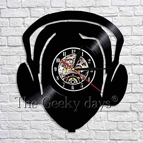 ZZLLL Me Encanta la música Reloj de Pared de Vinilo Hecho a Mano Escuchando música Auricular Auricular decoración de la habitación del Arte Reloj Reloj de Pared Arte Colgante de Pared