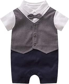 Fairy-Baby Toddler Baby Boys Gentleman Bowtie Fake Vest Cotton Snap Romper Jumpsuit