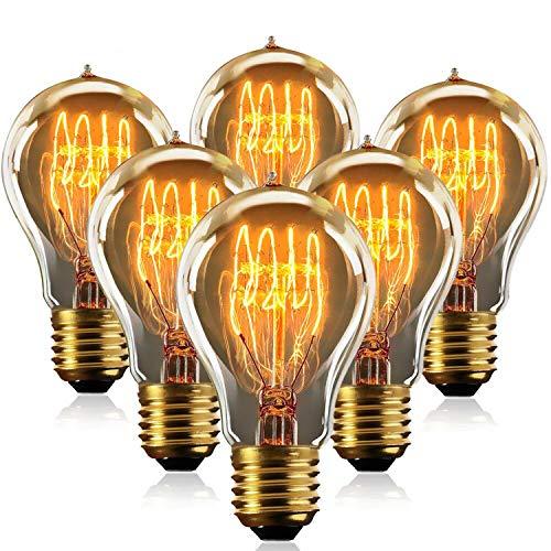 MeYuxg Bombilla Edison vintage, E27, 40 W, 220 – 240 V, filamento regulable, blanco cálido, lámpara LED, 2700 K,...