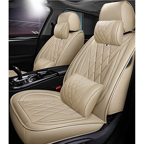 Coprisedile universale auto Set coprisedili in pelle PU set completo impermeabile per BMW F10 F11 F15 F16 F20 F25 F30 F34 E60 E70 E90 3 gennaio 5 4 7 Serie GT X1 X3 X4 X5 X6 (Colore : Beige)