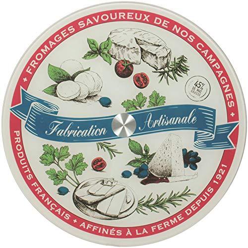 Amatable 39-2K-050 - Bandeja redonda giratoria para queso de Francia (cristal, metal, 34 x 2 cm), multicolor