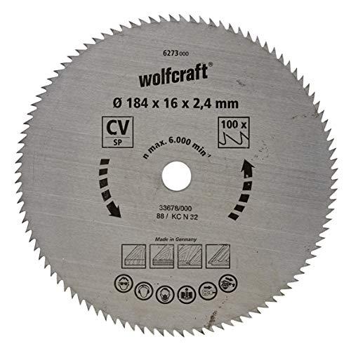 Wolfcraft 6273000 6273000-1 Hoja de Sierra Circular CV, 100 dient, Serie Azul diam. 184 x 16 x 2,4 mm, 184x16x2.4mm