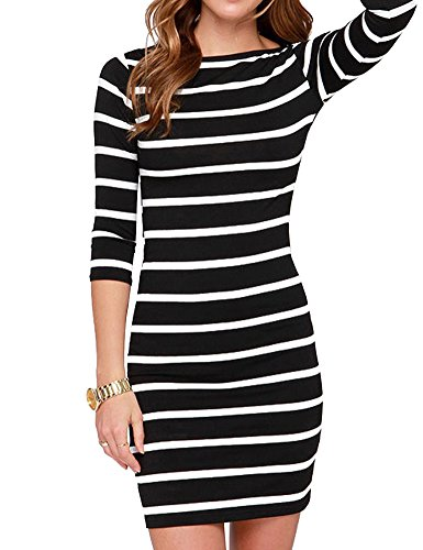 Haola Women's Sexy Casual Long Sleeve Short Dress Mini Dress Stripe Dresses S Stripe