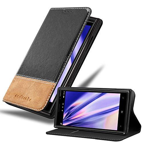 Cadorabo Hülle für Nokia Lumia 930 in SCHWARZ BRAUN – Handyhülle mit Magnetverschluss, Standfunktion & Kartenfach – Hülle Cover Schutzhülle Etui Tasche Book Klapp Style