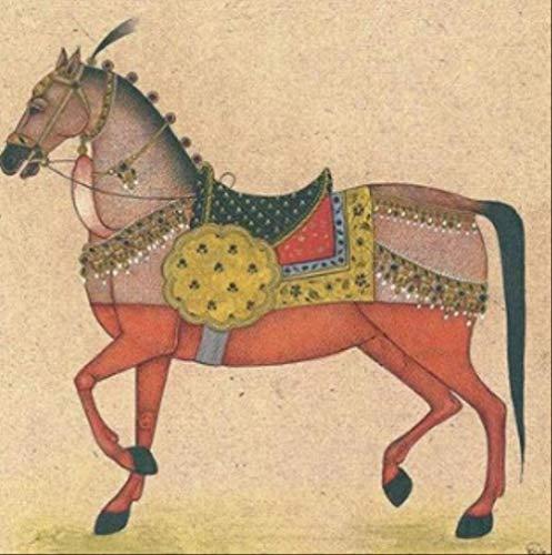 tytlwall Diy Digitale Schilderij Kits,Poster Home Decoratie Corridor Muur aquarel Beeld Dier Militaire Paard Canvas Kunst Schilderij (50X50CM)