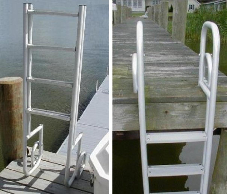 4 Step Heavy Duty Anodized Aluminum Swimming Pool Dock Ladder FLIP UP