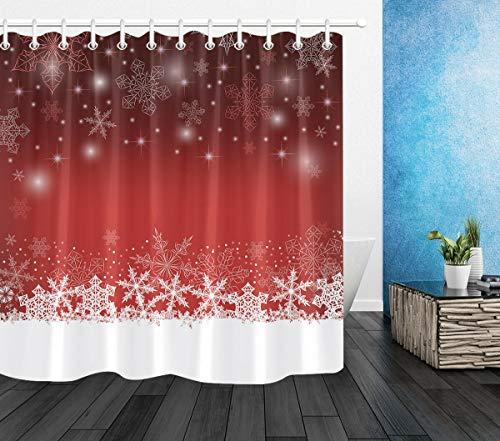 taquxinlaowan Fondo de Navidad Rojo Copos de Nieve diseño baño Tela Ducha Cortina Ganchos