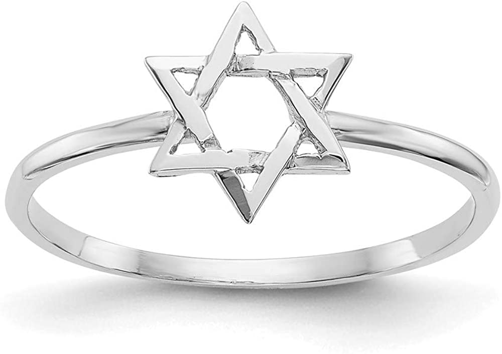 14k White Gold Star of Max 76% OFF 7 Size David Ring trend rank