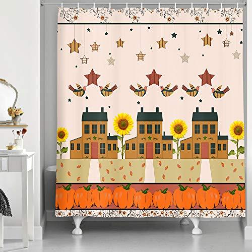 NYMB Rustikaler Stoff-Duschvorhang, Bauernhofmotiv Vintage Scheunenhaus, Duschvorhang-Sets, ländlicher Stil, Sonnenblumen, Vögel, Sterne & Kürbis-Dekor für Badezimmer, 175,9 x 177,8 cm