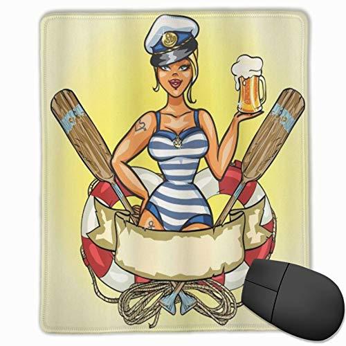 ELIENONO Alfombrilla Raton Retro Pin-Up Sexy Sailor Girl Lifebuoy con Sombrero de capitán y Disfraz Vaso de Cerveza Femenino Alfombrilla Gaming Alfombrilla para computadora con Base de Goma