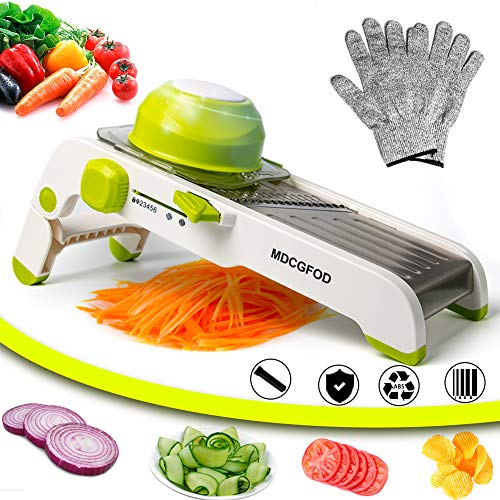 of slicer set with adjustable mandolines MDCGFOD Mandoline Slicer Cutter Adjustable Mandoline Slicer Vegetable Slicer Cheese Grater Stainless Steel Multi Blades with Slices Juliennes and Waffles