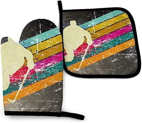 NA Juego de manopla para Horno y Soporte para ollas, Guantes Antideslizantes de Jugador de Hockey Vintage para cocinar, Hornear, Barbacoa o Asar al Aire Libre