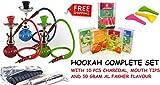 Single Hose Hookah Glass Water Pipe Vase Nargila with charcoal Al fakher flavor tips hookah set