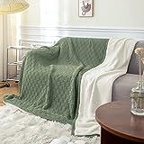 MYLUNE HOME Baumwolle + Sherpa Decke Flauschige Kuscheldecke - Hochwertige Zweiseitige Wohndecke - Weiche und Warme Sofadecke - Fleecedecke für Bett, Sofa & Couch(70'' x 78'', Olive)