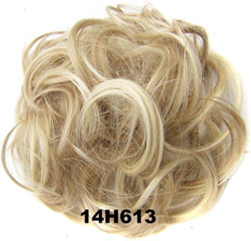 Haarteil Haargummi Hochsteckfrisuren, für Haarknoten/Pferdeschwanz, Haarverlängerung, gewellt, gelockter, unordentlicher Haarknoten, Dutt, Hochfrisur, Haarteil (14H613)
