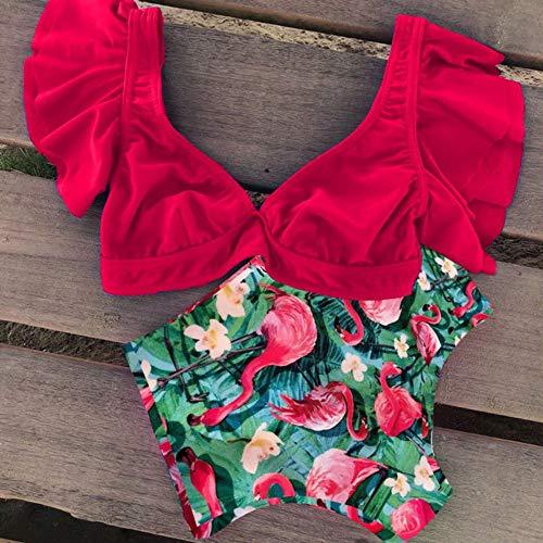 BENGKUI Bikini,Rojo, Hojas De Planta, Animal Print Flamingo Mujeres Bañadores Bañador Bikini Culotte De...
