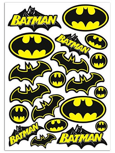 Biomar Labs® Set (20 stück) Vinyl Aufkleber Autoaufkleber Stickers Batman Logo Bat Sign Emblem Auto Moto Motorrad Fahrrad Scooter Fenster D 55