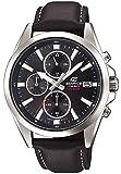 Casio EDIFICE Reloj en caja sólida de acero inoxidable, 10 BAR, Negro, para Hombre, con Correa de Cuero, EFV-560L-1AVUEF