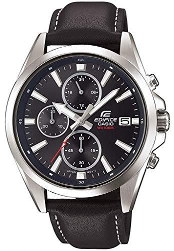 Casio Edifice Herren Massives Edelstahlgehäuse und Lederarmband Uhrenarmband EFV-560L-1AVUEF