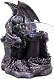 DWK - Fragrance of The Fierce - Mythical Gothic Dragon Castle Guardian Wax Melt Warmer Oil Burner Aromatherapy Lamp Home Decor Accent, Antique Black Pewter Finish, 9-inch