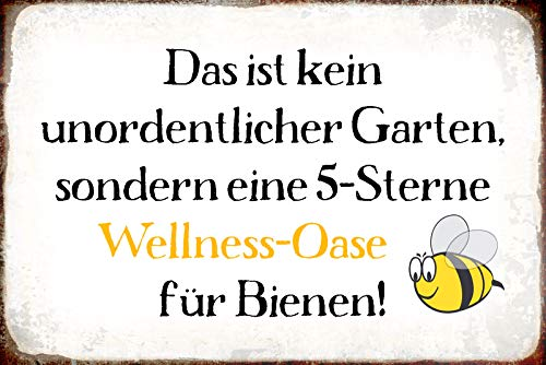Schatzmix Spruch 5-Sterne Wellness-Oase Für Bienen Metallschild 20x30 tin Sign Blechschild, Blech, Mehrfarbig, 20x30 cm
