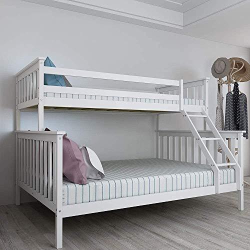 Panana Triple bed frame, Triple Sleeper Bunk Beds, Single Top Double base bed, Solid Wood Frame, Children's Bed room Furniture, Wooden Bed Frame for Parents & Children