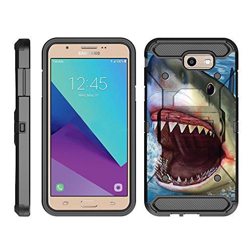TurtleArmor   Compatible with Samsung Galaxy J7 2017 Case   J7 Prime   J7 Sky Pro [Armor Pro] Armor Full Body Rugged Hybrid Kickstand Holster Belt Clip Case Sea Ocean - Shark Attack