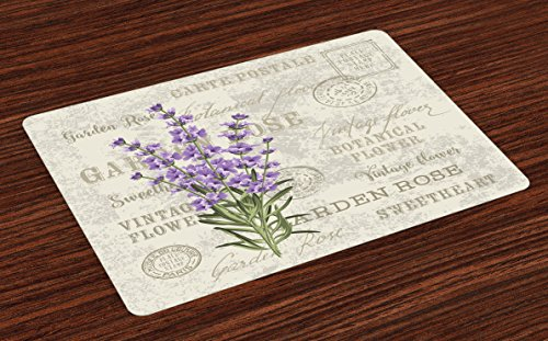Lunarable Lavender Place Mats Set of 4, Vintage Postcard Composition with Grunge Display and Flowers, Washable Fabric Placemats for Dining Table, Standard Size, Green