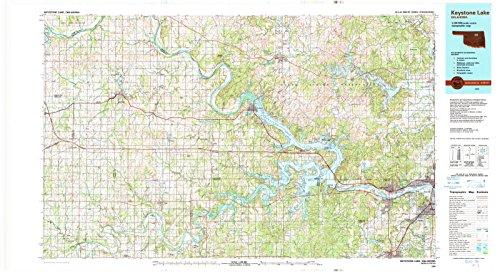 Oklahoma Maps - 1990 Keystone Lake, OK - USGS Historical Topographic Wall Art - 67in x 36in