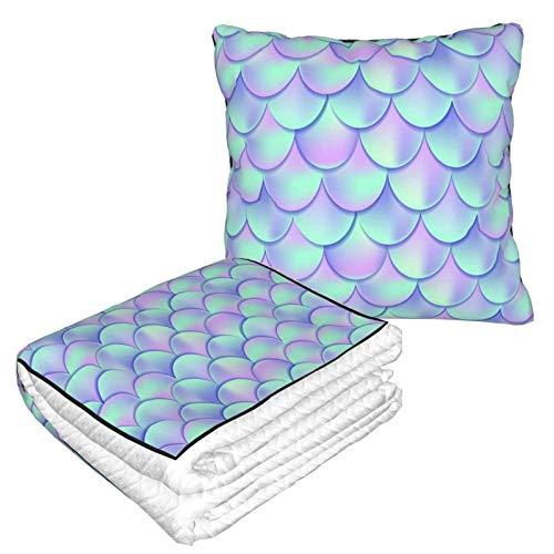 AEMAPE Rainbow Mermaid Scales Manta de Almohada de Coche Manta de sofá, Manta de Almohada de Viaje, cálida y Gruesa, Almohada de Cuello de Felpa de avión para Dormir