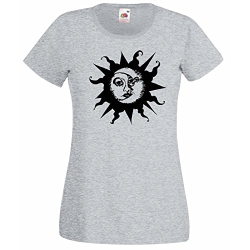 Damen -Shirt mit Sun & Mond Design / Fruit Of The Loom Super Premium T-Shirt / Ethisch Symbol Hemden / Crescent Tag und Nacht Joga T-shirt + Zufälliges Gratis Aufkleber Geschenk - grau, XX-Large