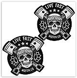 SkinoEu® 2 x PVC Laminado Adhesivos Pegatinas Cráneo Calavera Live Fast Skull para Autos Coches Motos Ciclomotores Bicicletas Ordenador Portátil Regalo B 41