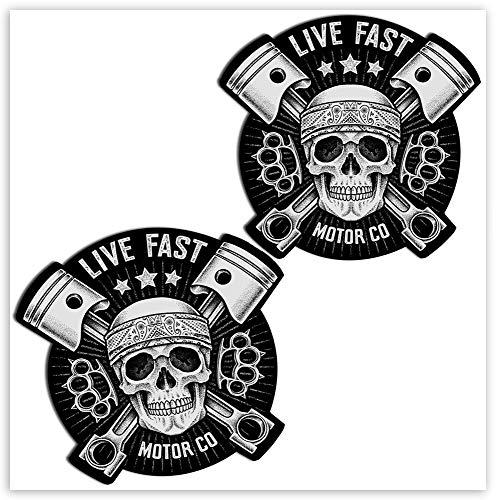 SkinoEu 2 x Adesivi Vinile Stickers Skull Live Fast Teschio per Auto Moto Finestrino Porta Casco Scooter Bici Motociclo Tuning B 41