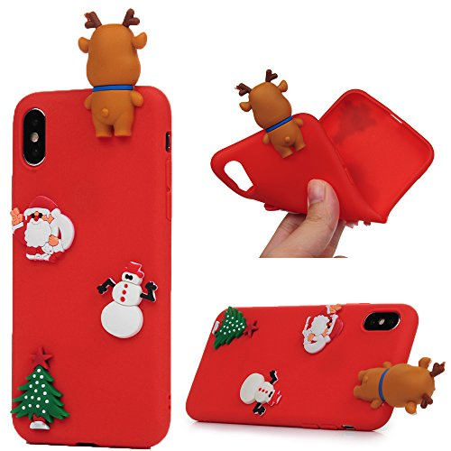 KASOS iPhone x Christmas casse del telefono, iPhone x, morbido in silicone gel con cute Xmas adesivi ultra slim fit leggero antiurto custodia protettiva per iPhone x