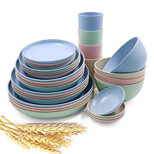 Juego de vajilla de paja de trigo de 36 piezas, platos ligeros, tazas, platos, juego de vajilla irrompible para picnic, fiesta, barbacoa, boda, camping (A6)