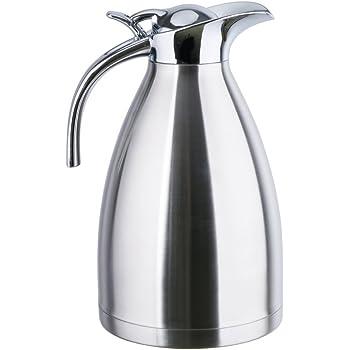 FUNRUI 1L doble pared de aislamiento al vacío jarra termo, jarra térmica, acero inoxidable para zumo de café leche té bebidas plata: Amazon.es: Hogar