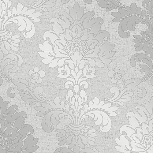 Fine Décor fd41965cuarzo damasco papel pintado, color plateado
