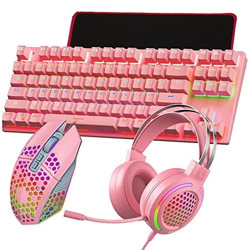 Uniquelove T500 Teclado Y Mouse Mecánicos 7.1 Juego De Alfombrilla De Mouse con Auriculares USB Juego De Alfombrilla De Mouse con Teclado Y Mouse 4 En 1 - Rosa