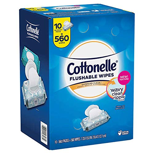 Cottonelle Flushable Wipes for Adults, Wet Wipes, Alcohol Free, 560 Wet Wipes per Pack (Ten 56-Count Resealable Soft Packs)