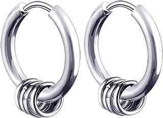 Pendientes de aro de plata para hombre y mujer, un par, de acero inoxidable, con cierre de clip, redondos, punk rock