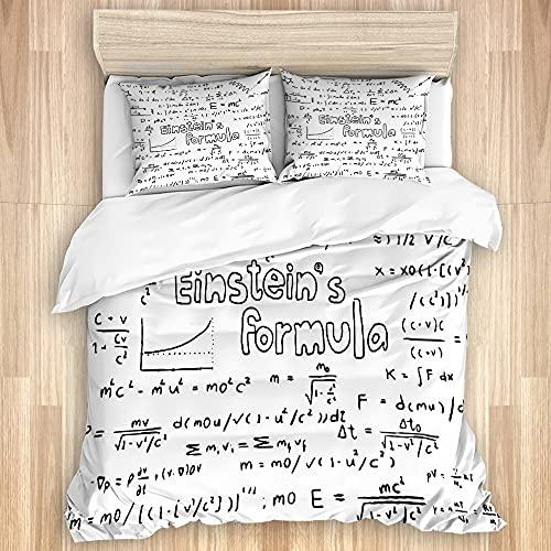FOURFOOL Bedding Juego de Funda de Edredón,Friki Nerd Cultura Estilo Escritura Física Matemática Fórmula Educativa,Microfibra Funda de Nórdico y Fundas de Almohada-(Cama 220 x 240cm)