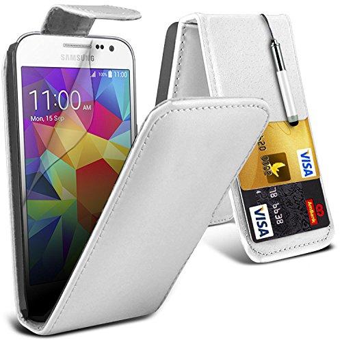 Gadget Giant® Samsung Galaxy Core Prime g360 F wit lederen flip wallet beschermhoes met displaybeschermfolie en stylus pen