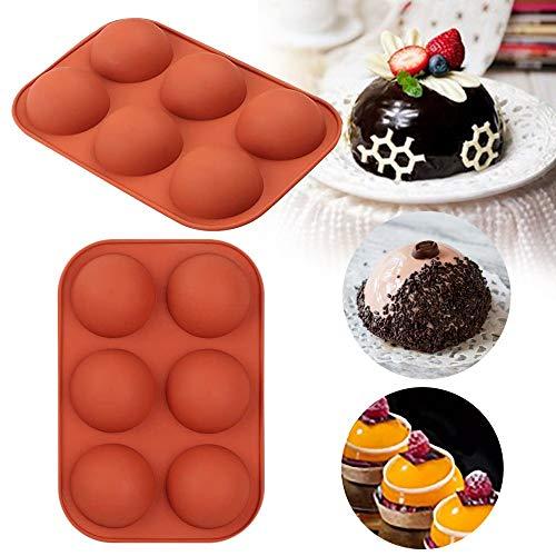 AMHCORKZ Christmas Diy Round 6-hole Hemispherical Silicone Mold, Used For Chocolate, Cake, Jelly, Pudding, Handmade Soap, Cupcake Baking Tray(2) (2)