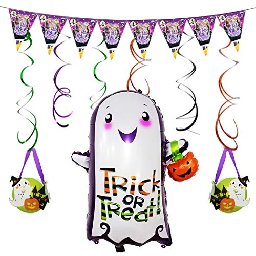 JUSTDOLIFE Halloween Decoratie Kit Ballon hangende Strudel Banner Candy Bag Ribbon Medium Ghost