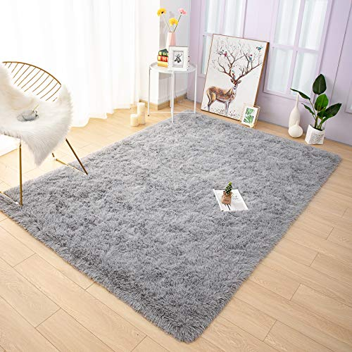 YOH Fuzzy Soft Modern Shaggy Area Rugs, Non-Slip Plush Fluffy Bedroom Furry Fur Rugs, Indoor Comfy Accent Floor Carpet for Dorm Living Nursery Kids Girls Room Home Decor, 4 x 6 Feet Grey