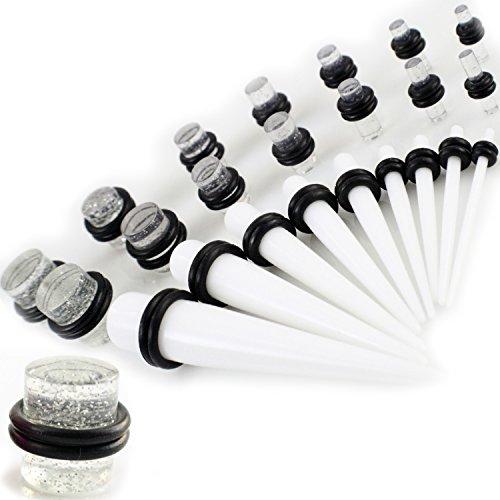 Gauge Gear® Kit de expansores de oreja de color blanco, 28 piezas, kit de dilatador de oreja blanco y juego de tapones de purpurina transparente de 1,3 a 10 mm