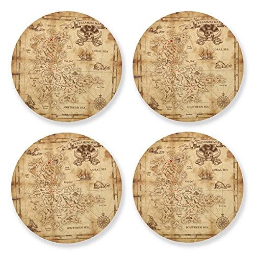 Posavasos para bebidas absorbentes – Mapa pirata detallado, pergamino viejo madera natural con respaldo de corcho (juego de 4 piezas) 10,4 cm para decoración de bar