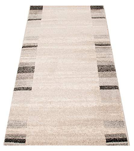 Tapiso Rasta Teppich Läufer Meterware Kurzflor Modern Streifen Meliert Design Creme Schwarz Grau Flur Brücke Wohnzimmer Küche ÖKOTEX 70 x 400 cm